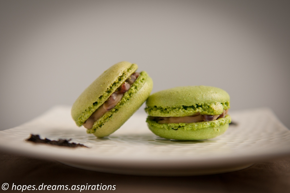 green tea macaron with red bean mascarpone