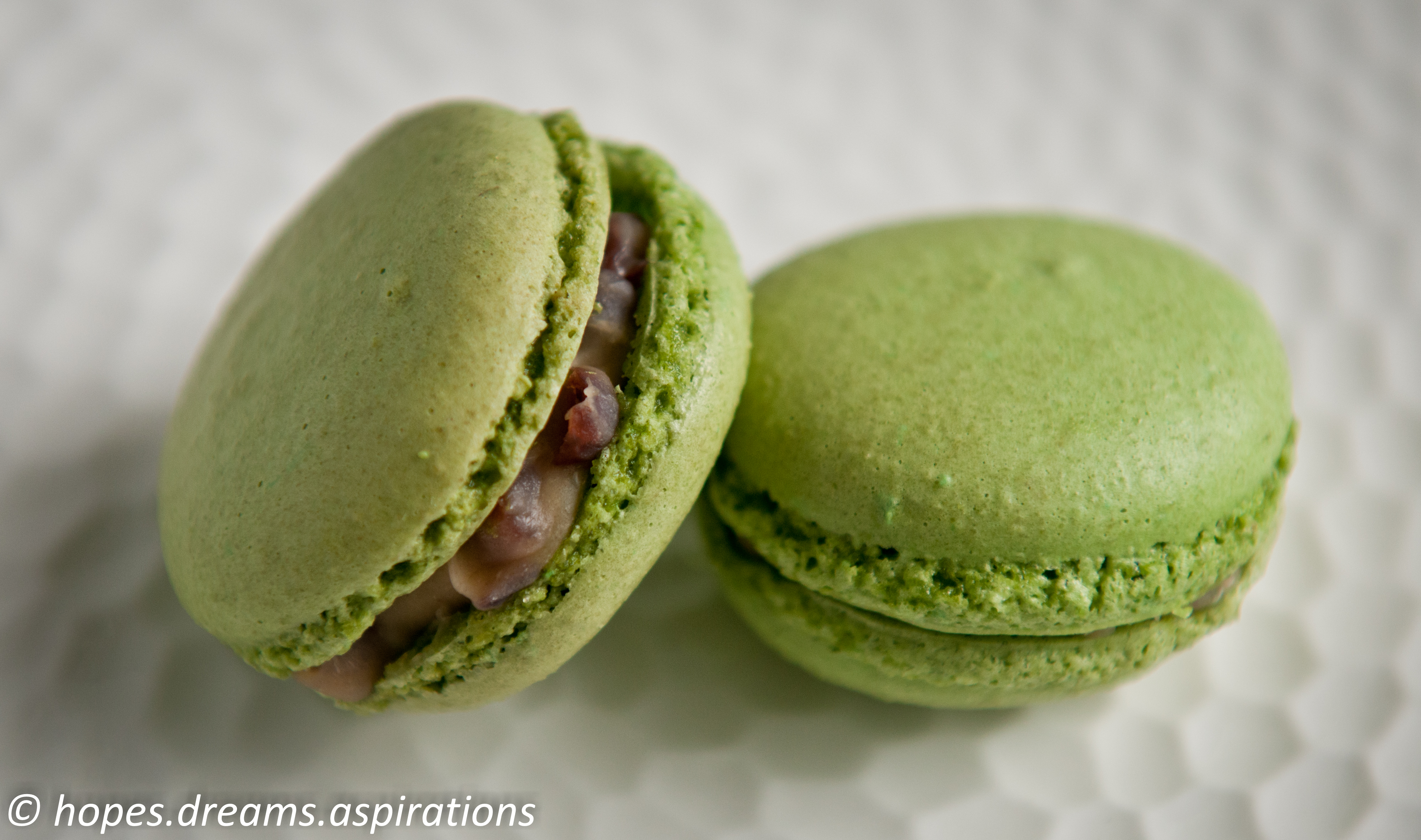 Matcha green tea macaron with mascarpone and red bean ...