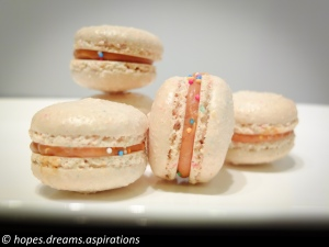 100s and 1000s macaron with salted caramel filling
