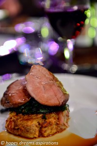 Lamb rump with spinach and potato rosti