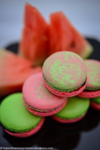 pink and green watermelon macaron