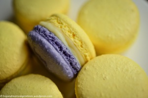 yellow and purple macarons with white chocolate ganache and mango flavouring
