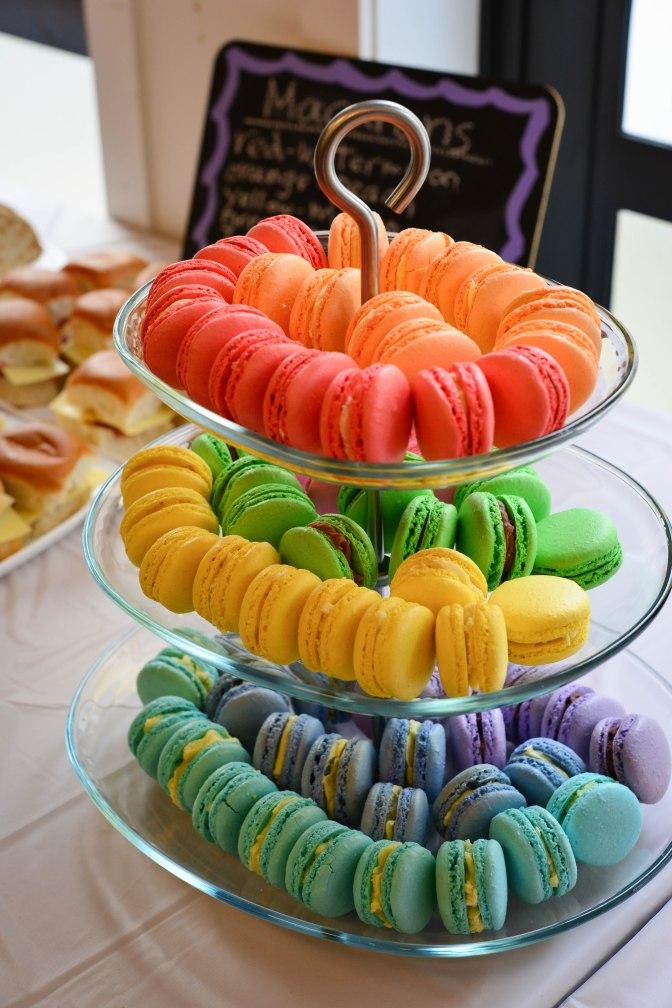 Rainbow macaron tier