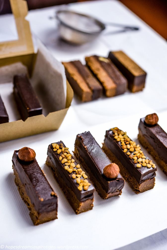Chocolate hazelnut crunch bar with feuilletine