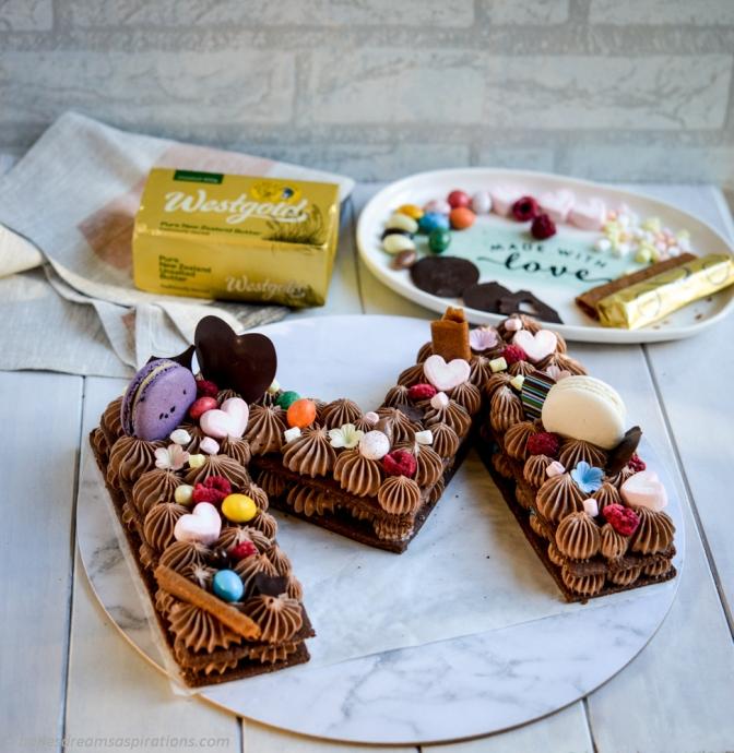 Chocolate Pâte Sablée letter tart cake